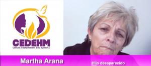 Imagen compuesta con el  logotipo del Centro de Derechos Humanos de las Mujeres A.C. y la señora Martha Arana, madre que busca a su hijo desaparecido, en Cuauhtémoc, Chihuahua.